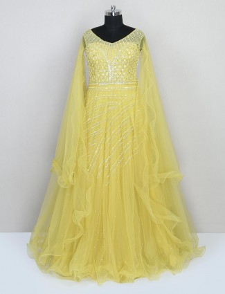 Yellow net gown for wedding session