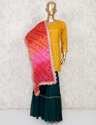 Yellow party punjabi sharara suit in cotton silk