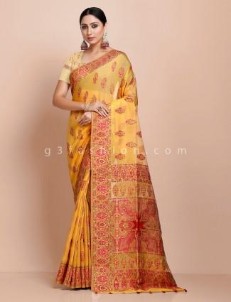 Yellow pashmina silk saree for wedding