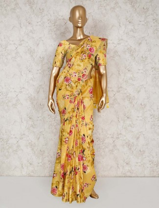 Yellow printed semi silk saree