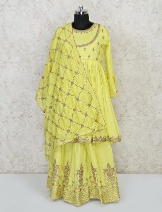 Yellow punjabi lehenga suit in cotton