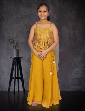 Yellow punjabi palazzo set for girls in georgette