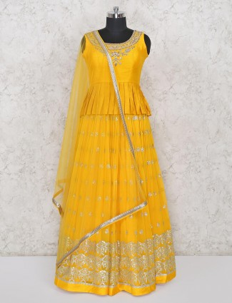 Yellow raw silk wedding wear yellow lehenga salwar kameez