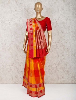 Yellow red pure silk saree