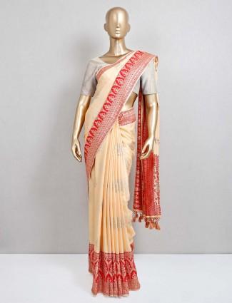 Yellow saree design in semi silk