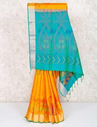 Yellow saree for haldi in pure south silk
