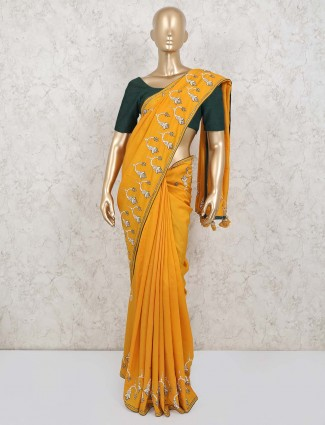 Yellow satin wedding wear saree