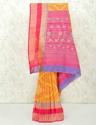 Yellow semi silk saree in contrast pallu