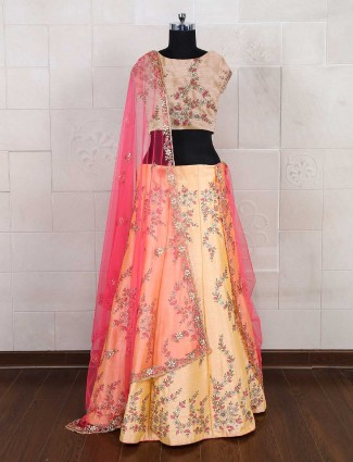Yellow semi stitched lehenga choli