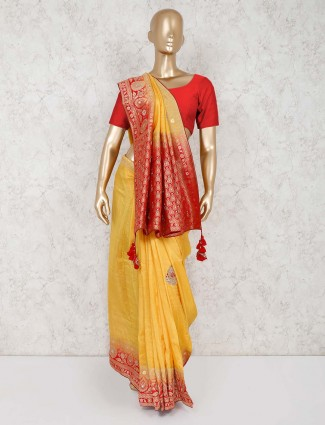 Yellow silk reception saree
