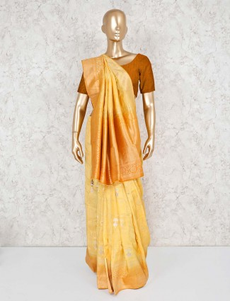 Yellow silk saree for wedding