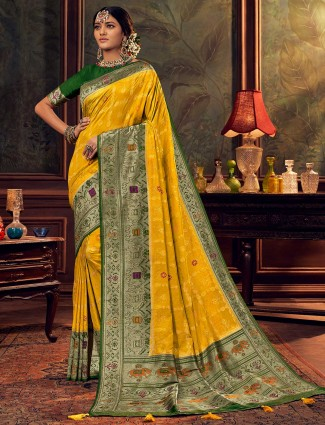 Yellow silk saree for wedding function