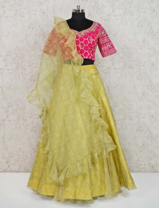 Yellow tissue silk party or wedding lehenga choli