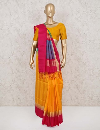Yellow wedding saree design in south pure silk