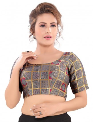 Zari and thread weaving readymade blouse in grey