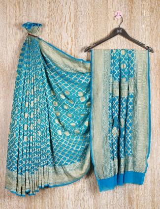 Zari weaving bandhej saree design for wedding