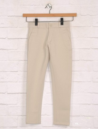 Zillian beige cotton casual boys trouser