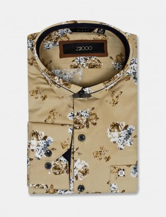Zillian khaki printed slim collar shirt