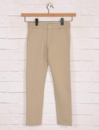 Zillian khaki solid cotton casual trouser