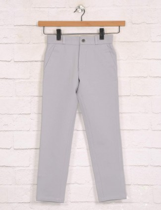 Zillian light grey cotton boys casual trouser
