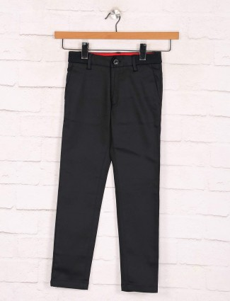 Zillian solid black boys cotton casual trouser