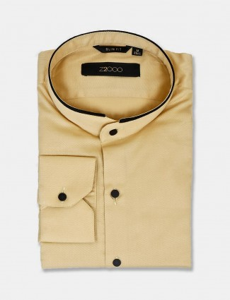 Zillian solid yellow cotton party shirt