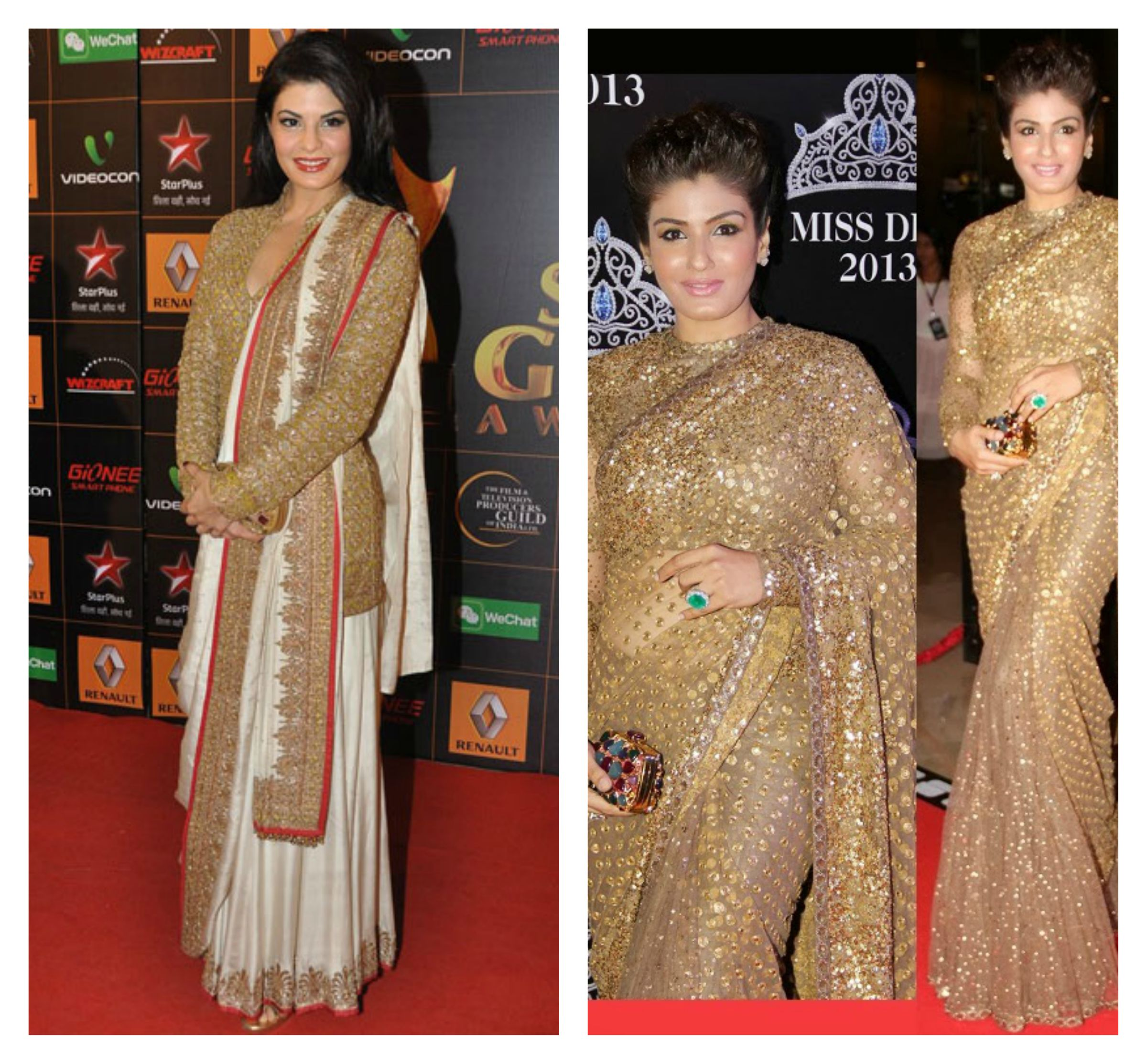 f775bf630dc524 jacqueline fernandez and raveenna tandon in sarees and blouse