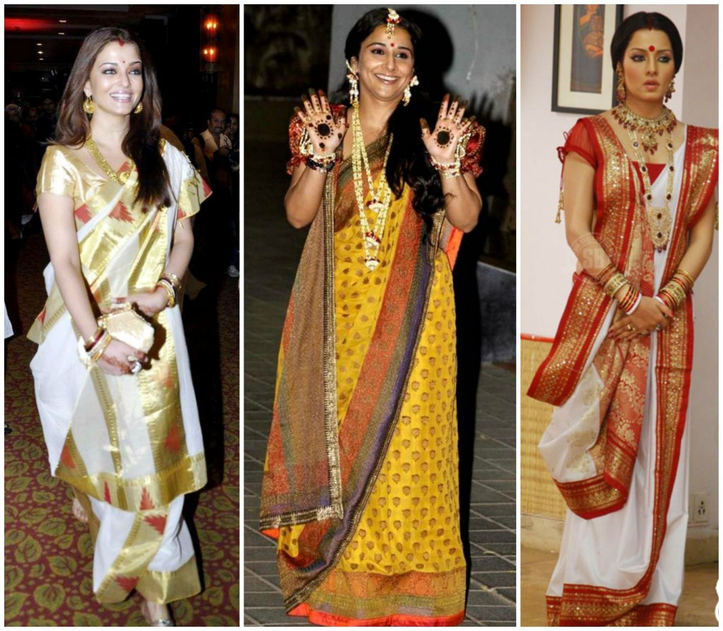 Different hairstyles to try with sarees - How To Drape Bengali Style Saree