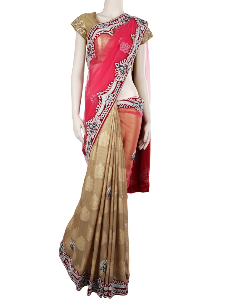 ... and Half saree in work, bride's saree wardrobe, half and half saree