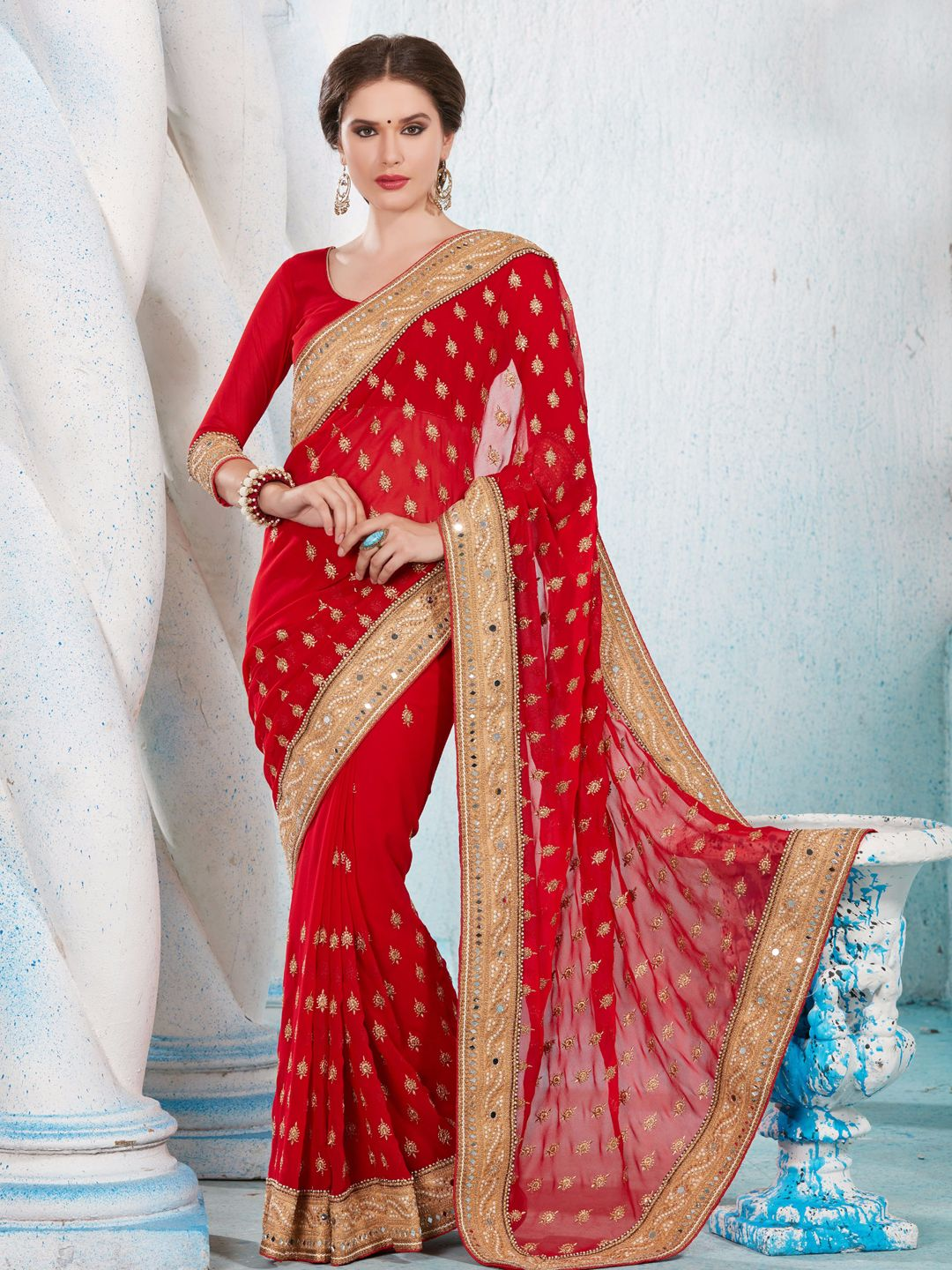 928e0ee0a13 Top 15 Red color sarees you Must Have — G3+ Fashion