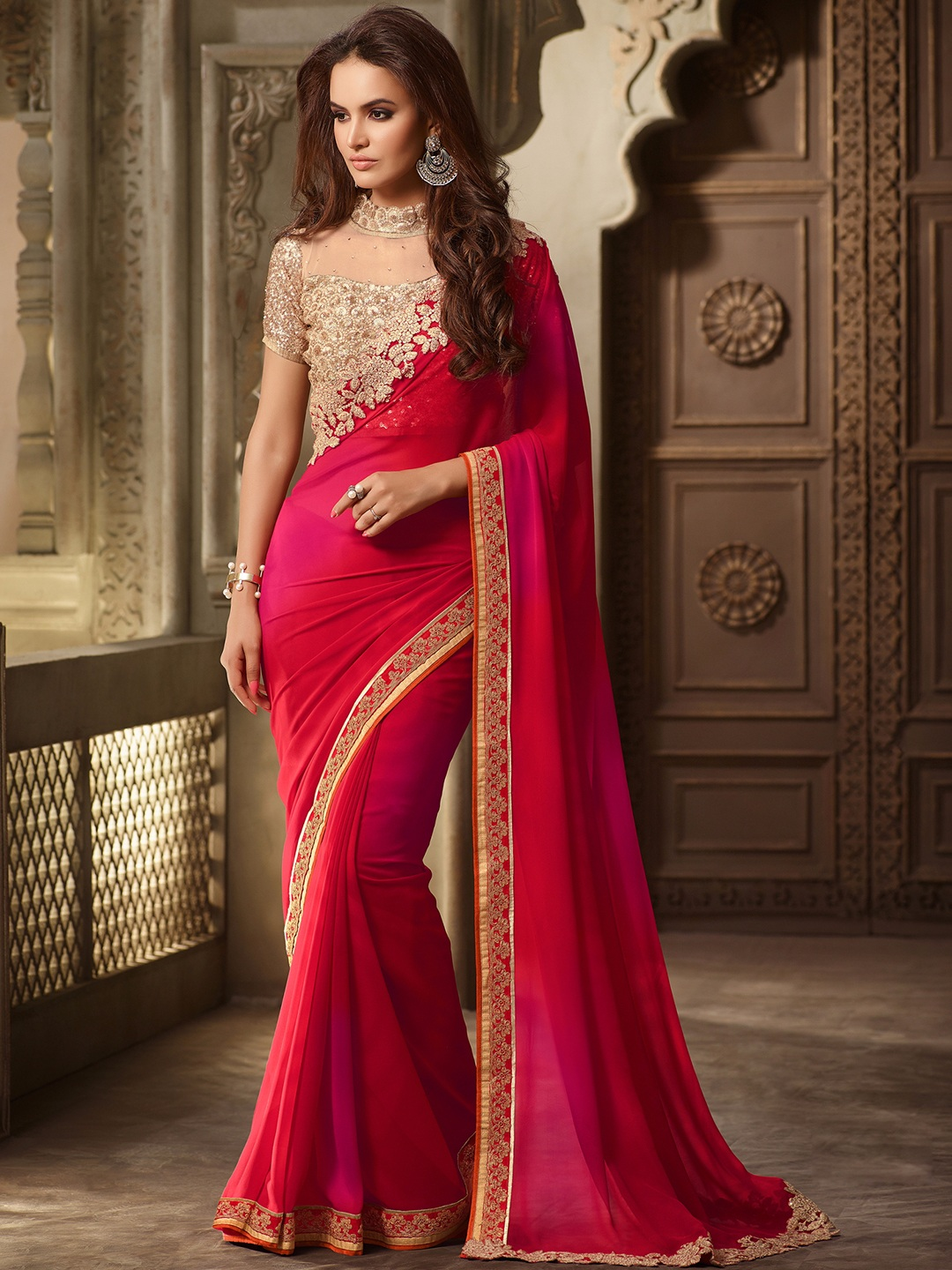Colors That Go Well With Red 15 Red Color Beautiful Sarees For Wedding Amp Parties