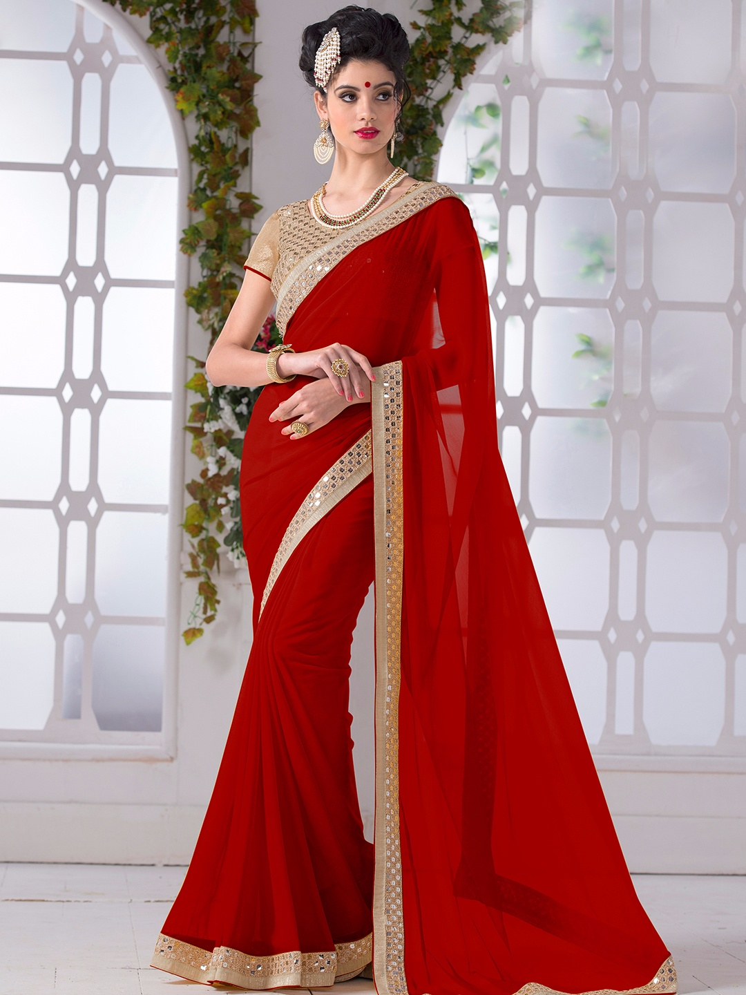15 red color beautiful sarees for wedding parties g3fashion red chiffon plain saree for festivals and wedding ombrellifo Images