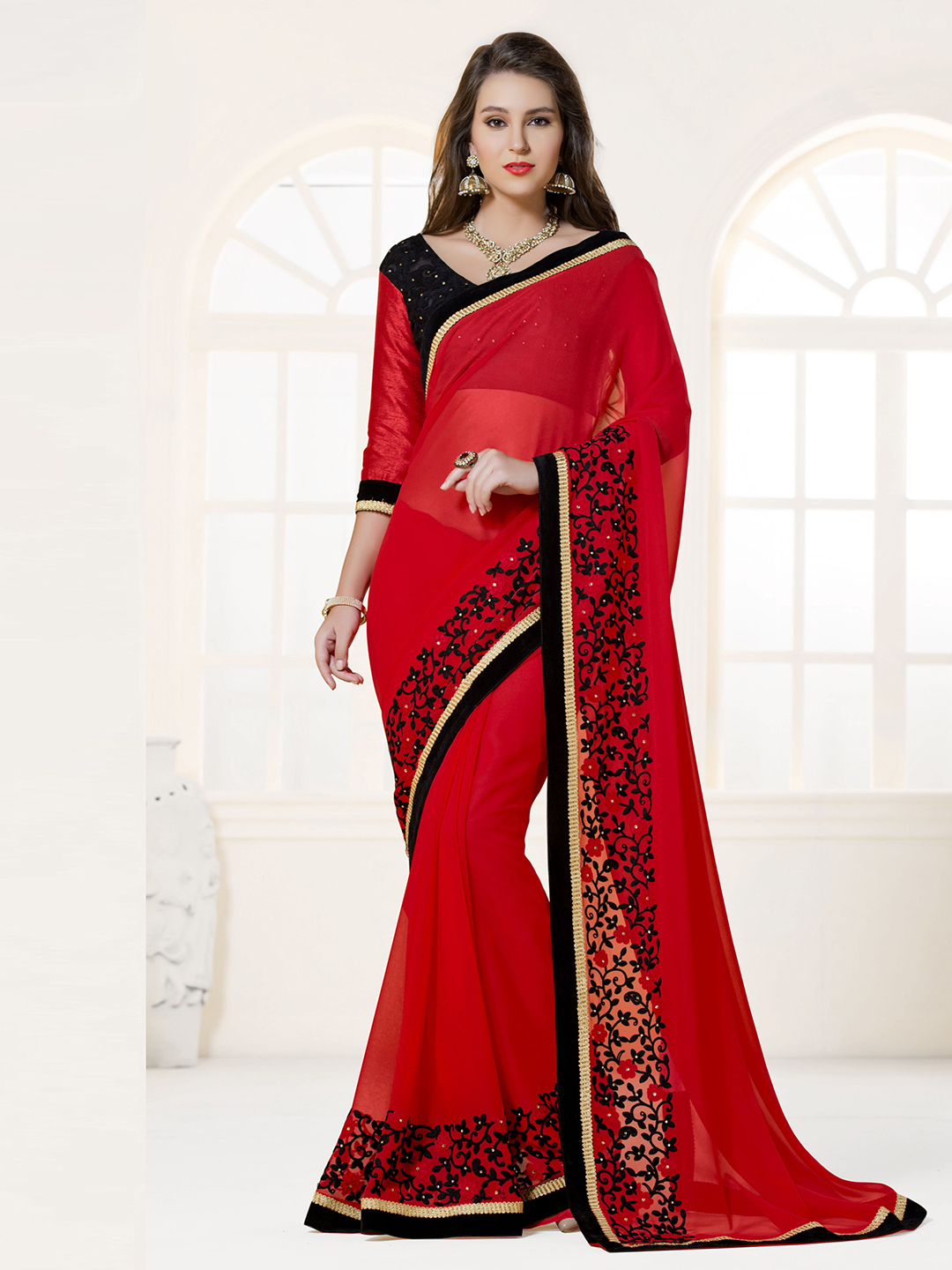 bc36e40c376956 Red Faux Georgette Partywear Saree. Red colored georgette designer sari  with zari work, contrast velvet contrast lace