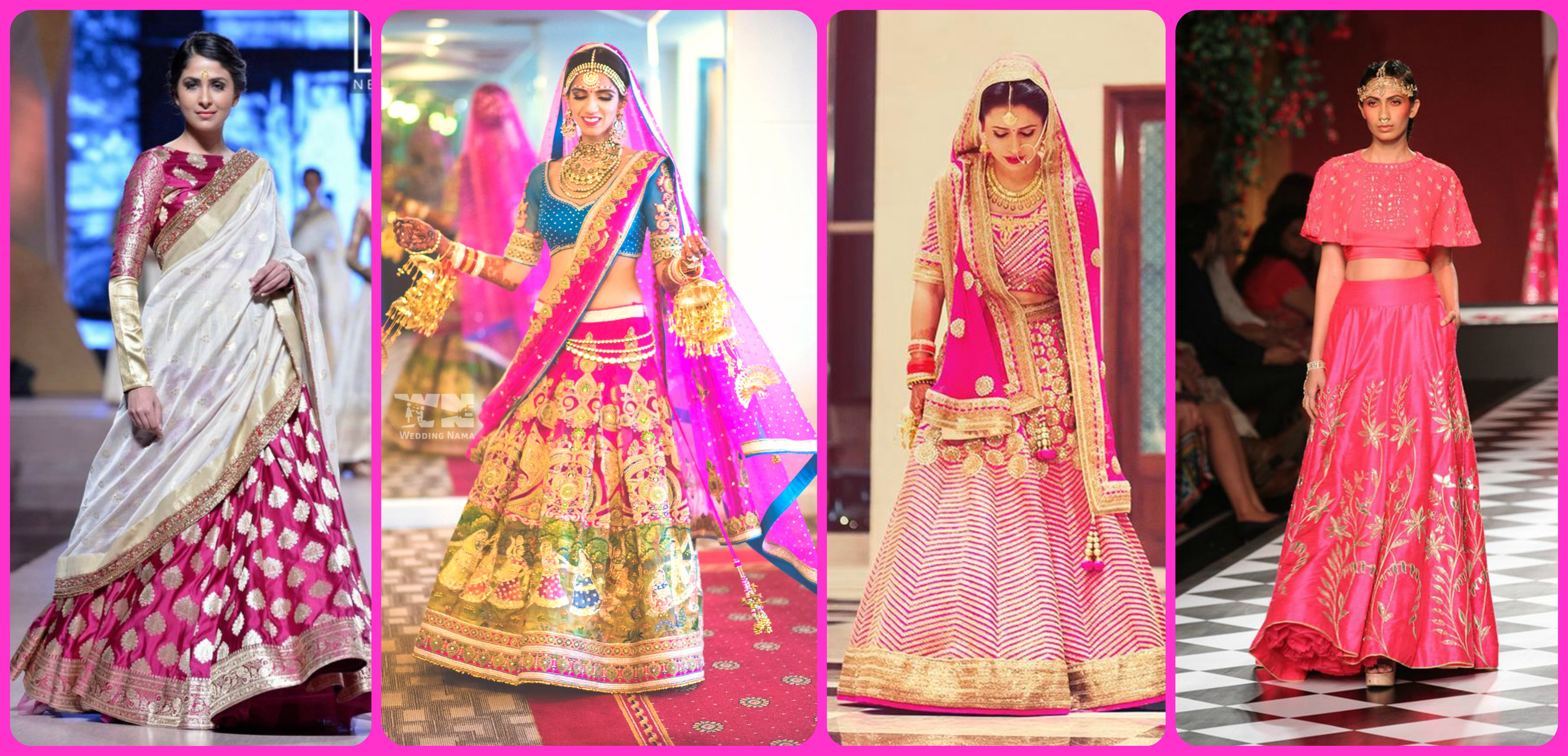Pink Wedding Clothes Saree Lehenga Salwar Suits Gowns
