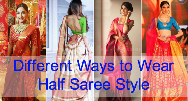 How to wear a Half Saree like a Lehenga Saree in 7 ...