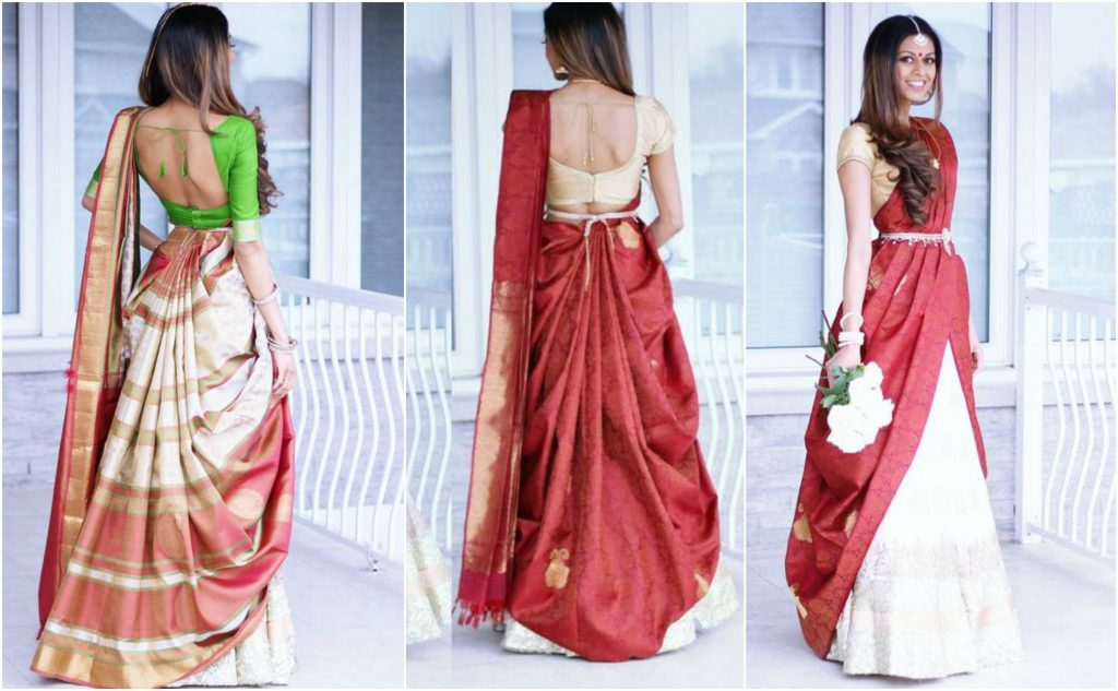 0a1af0ef56 Half saree with Lehenga, how to wear half saree styles, half saree style,