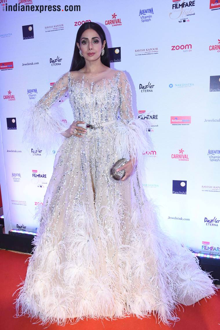 sridevi in gown for her awards ceremonies., best celebrity gowns 2017, best dressed