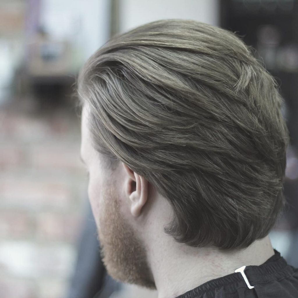 back head in long layered cut