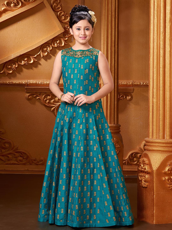 Aqua color silk designer gown - G3-GGO00158 | G3fashion.com