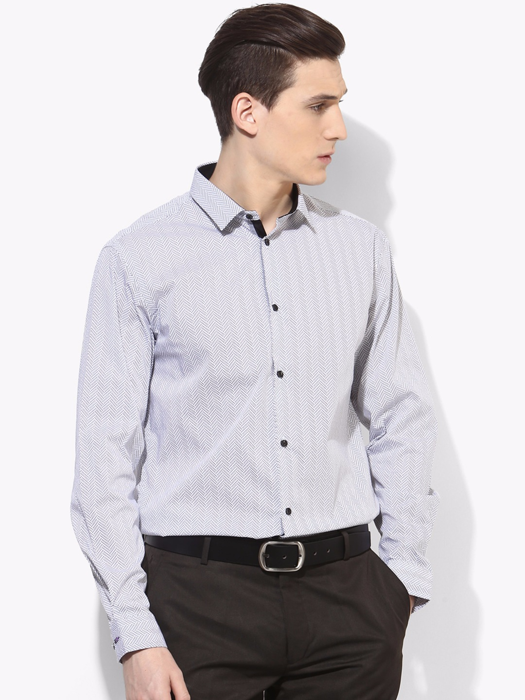 Arrow new york slim fit party wear grey cotton printed for Slim fit cotton shirts