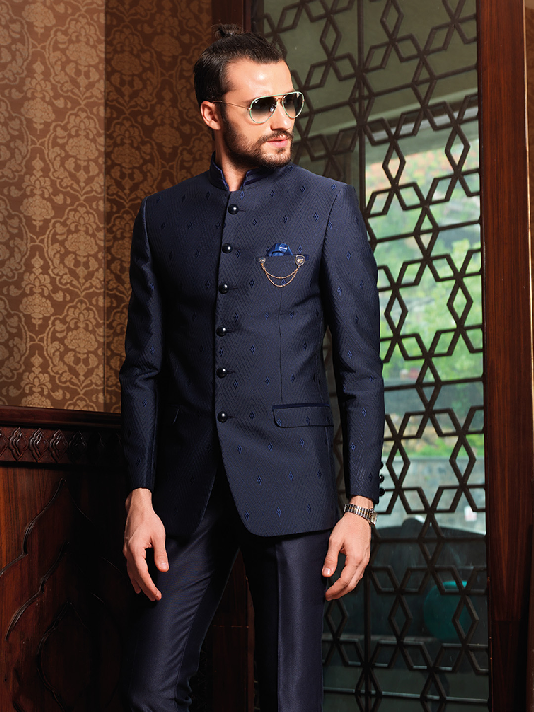 0a23af0d7 Attractive navy terry rayon jodhpuri suit - G3-MCO0631