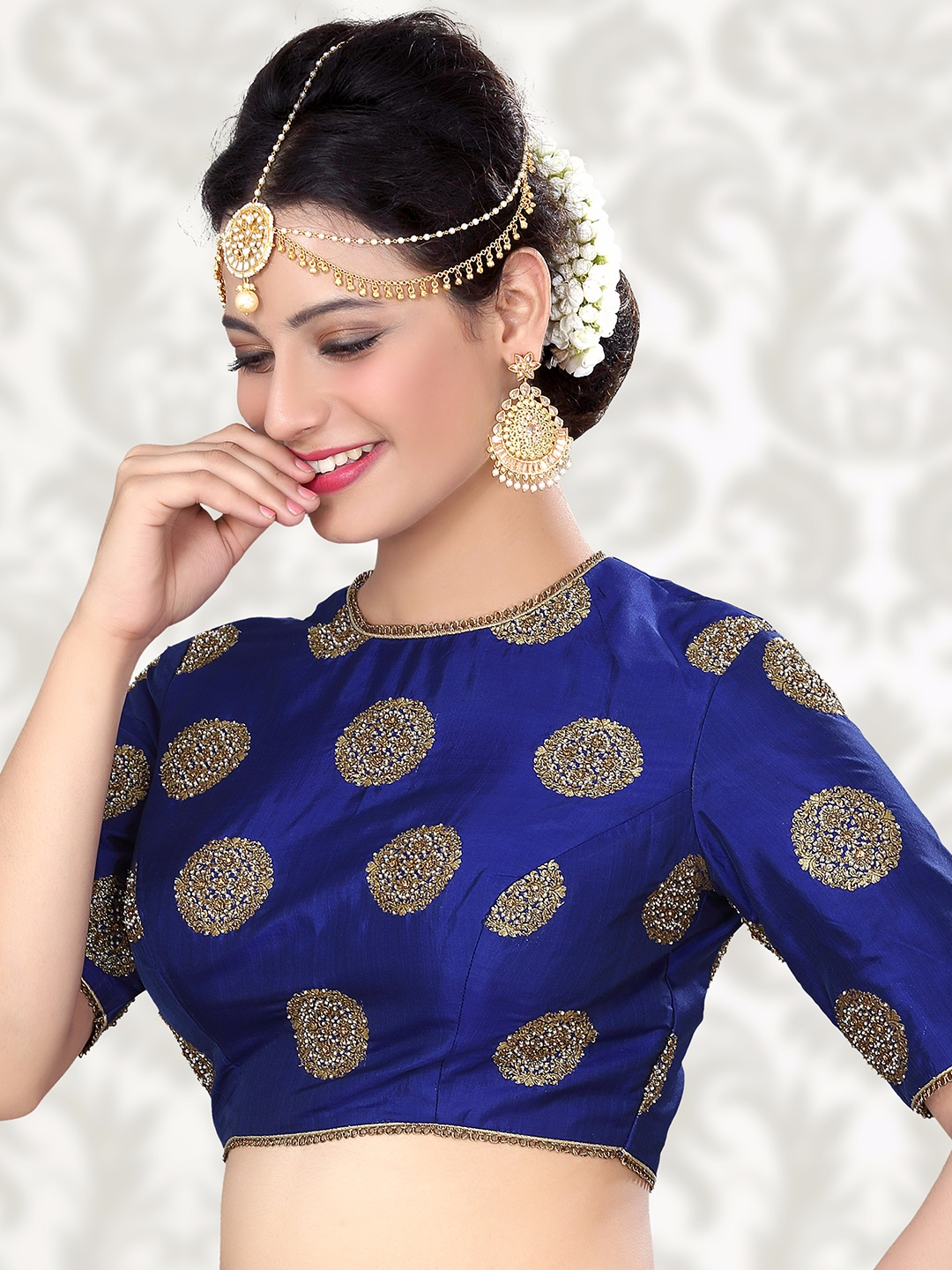 0cd7f2f2f7aaf8 Attractive raw silk blue ready made blouse - G3-RB0382