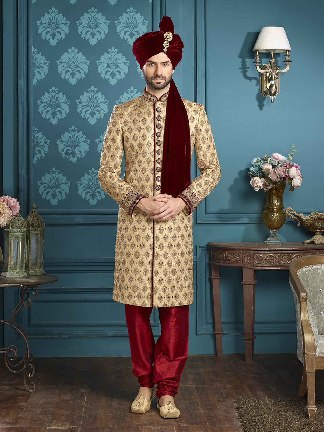 Beige wedding wear royal designer sherwani - G3-MSH0119 | G3fashion.com