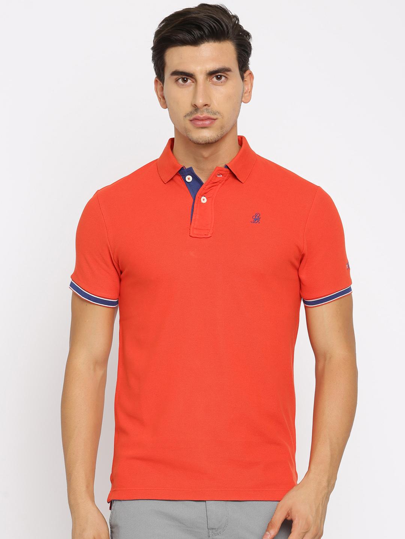 Being Human Orange Cotton Polo T Shirt G3 Mts5405