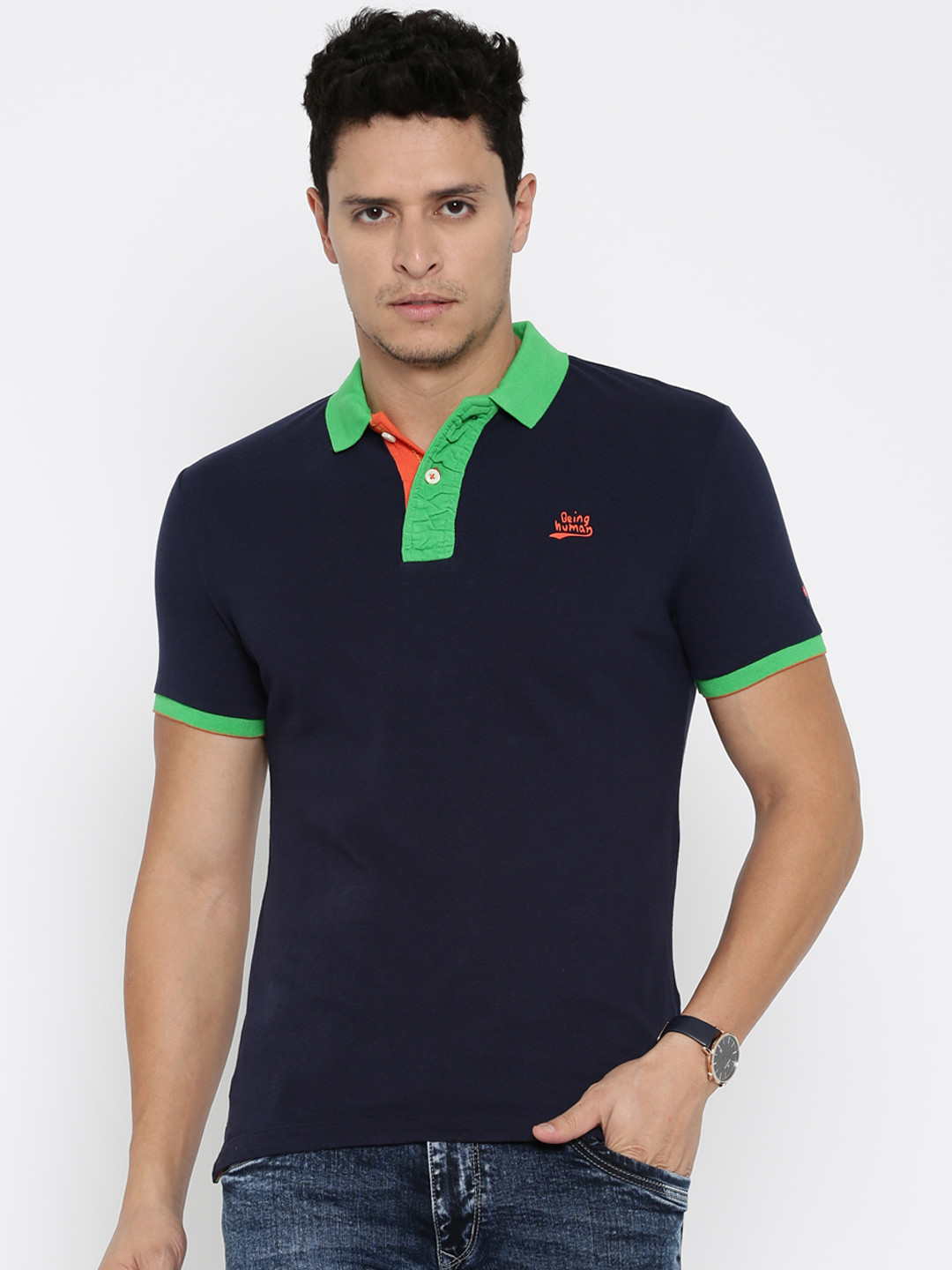 Being human solid navy cotton slim fit t shirt g3 for Navy slim fit shirt