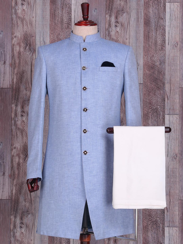 Blue plain jute silk indo western