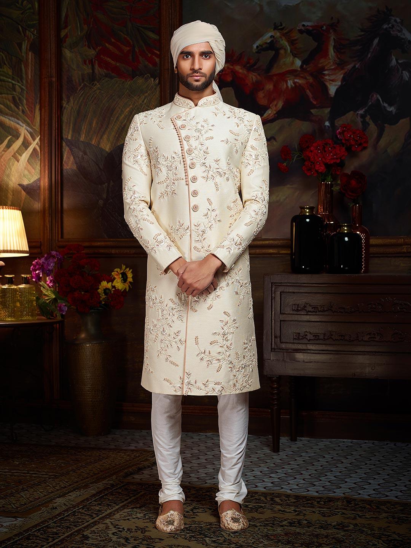 Cream Mens Raw Silk Wedding Sherwani
