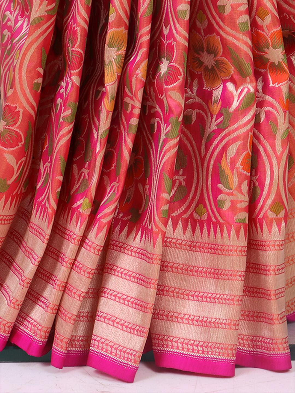 Designer Peach Pure Banarasi Silk Saree For Wedding