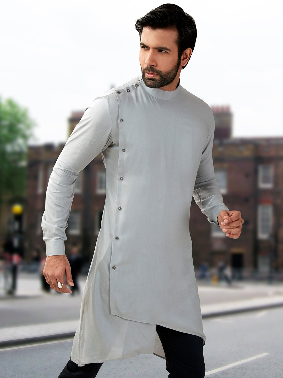 Designer plain grey silk short pathani kurta
