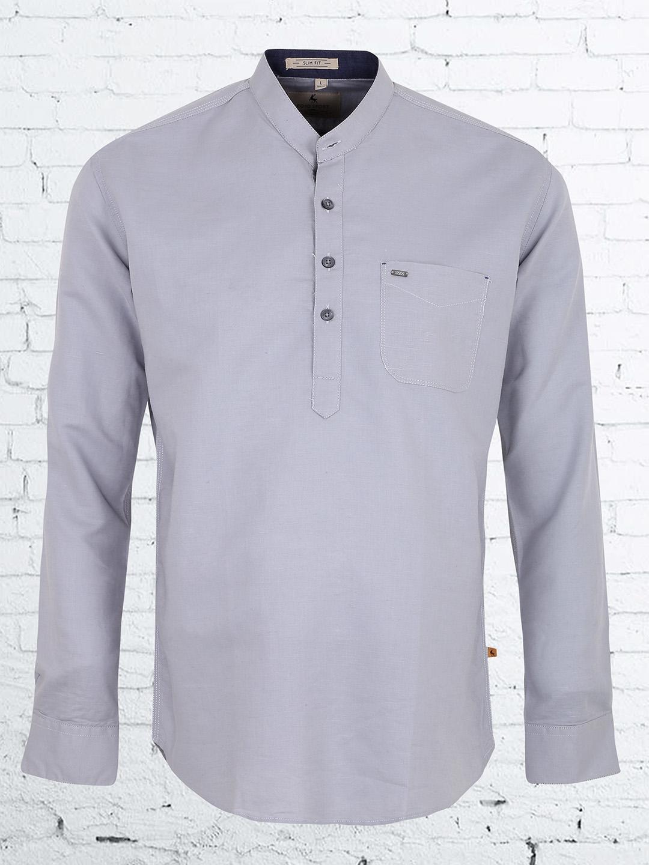 EQIQ grey color plain casual shirt - G3-MCS5219 ...